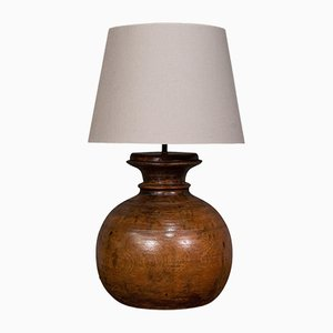 Antique Victorian English Fruitwood Table Lamp, 1900s