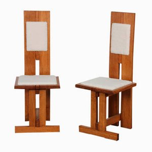 Czech Wood & Lambskin High Chairs, 1950s, Set of 2