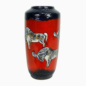 Mid-Century Red & Blue Ceramic Fat Lava 517-50 Floor Vase with Bull Design from Scheurich