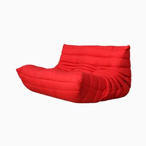 Vintage Red 2-Seater Togo Couch by Ligne Roset
