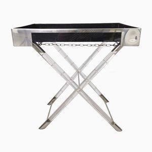 Bamboo, Methacrylate and Chrome Folding Table, 1970s