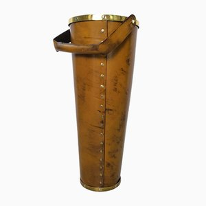 Leather and Brass Umbrella Stand from Valenti, 1970s