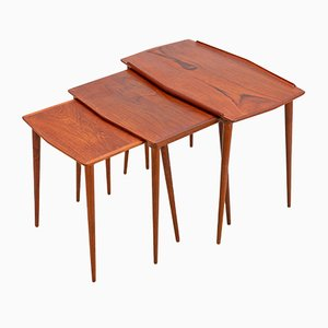 Tables Gigognes en Teck, Danemark, 1960s, Set de 3