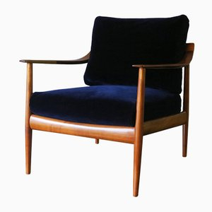 Mid-Century Blue Velvet Lounge Chair with Curved Back & Sprung Cushions
