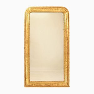 Antique Louis Philippe Gilded Mercury Mirror with Gold Leaf Frame, 19th Century