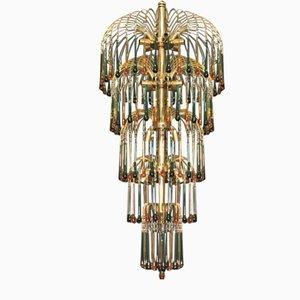 Lampadario Murano Teardrop a 18 luci su 5 piani in Vetro di Murano Verde Smeraldo e Ambra