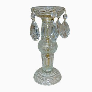 Vintage Glass Candlestick with Crystals, 1970s