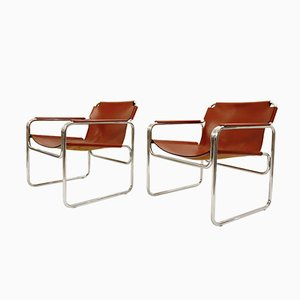 Leather & Tubular Steel Armchairs from Jox Interni, 1970s, Set of 2