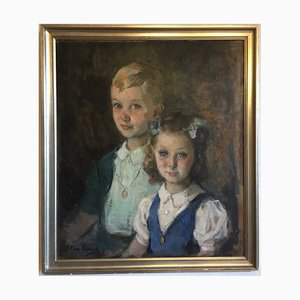 Portrait of Children, Oil on Wood, Marcial Plaza Ferrand
