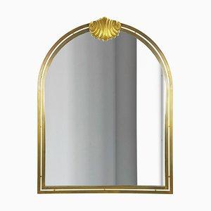Large Italian Brass & Mirrored Glass Wall Mirror, 1970s