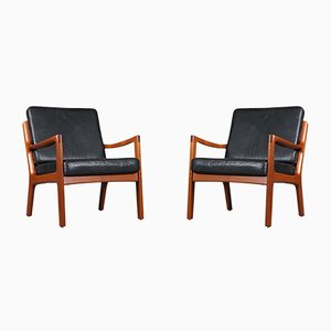 Leather Senator Chairs by Ole Wanscher for France & Søn, 1950s, Set of 2