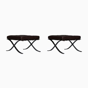 Vintage Barcelona Stools by Ludwig Mies Van Der Rohe for Knoll International, 1970s, Set of 2