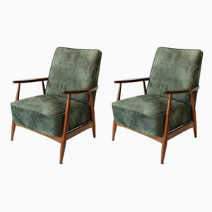 Vintage Green Velvet Lounge Armchairs, 1960s, Set of 2