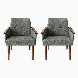 Graue Armlehnstühle im Dänischen Stil, 1960er, 2er Set
