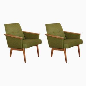 Butacas estilo danés en verde, años 60. Juego de 2