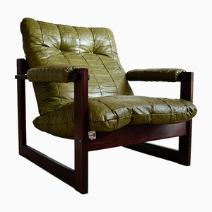 Mid-Century Modern Brazilian Mahogany & Leather Lounge Chair by Percival Lafer