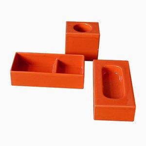 Piezas de cerámica italianas en naranja de Pierre Cardin para Franco Pozzi. Juego de 3
