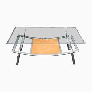 Rectangular Steel & Beveled Glass Sputnik 2-Tier Coffee Table, 1970s