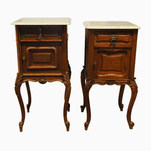 French Oak His & Hers Bedside Cabinets with White Marble Top, 19th Century, Set of 2