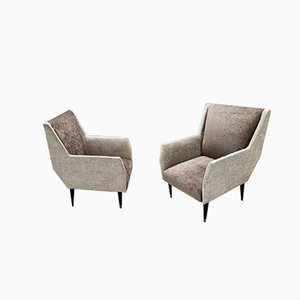 Italian Gray & Taupe Velvet Armchairs by Carlo De Carli, 1950s, Set of 2