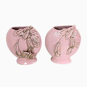 Italian Art Deco Light Pink Polished Ceramic Flower Vases, Set of 2