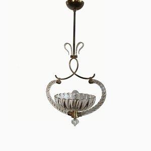Lampe à Suspension en Verre Murano par Ercole Barovier pour Barovier & Toso, Italie, 1940s