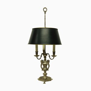 Silver-Plated Bronze Bouillotte Table Lamp, 1920s