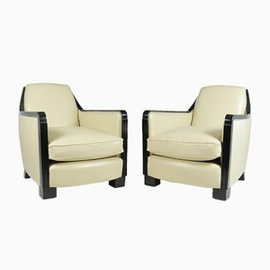 Art Deco Leather Armchairs, Set of 2