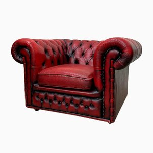 Chesterfield Armchair in Red Leather, 1960s