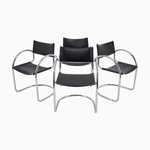 Chrome and Leather Tubular Chairs, Czechoslovakia, 1970s, Set of 4