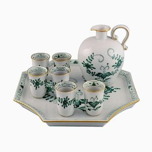 Meissen Indian Green Sake / Schnapps Set on Tray in Hand-Painted Porcelain, Set of 8