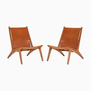 Model 204 Hunting Chairs by Uno & Östen Kristiansson for Luxus, Sweden, Set of 2