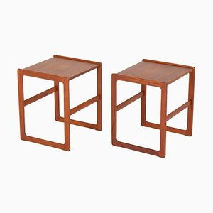 Scandinavian Mid-Century Side Tables in Teak, Set of 2