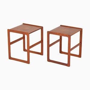 Scandinavian Mid-Century Side Tables in Teak, Set of 2