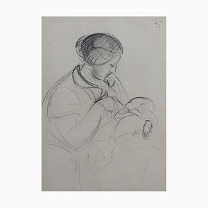 Mutter Baby Pflege, Guillaume Dulac, 1920er, Bleistift auf Papier