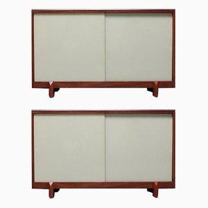 Schrank aus Teak & Glasschiebetüren von White & Newton, 1950er, 2er Set