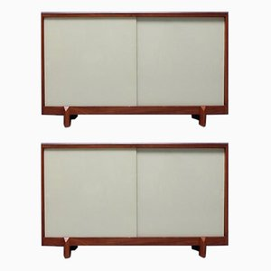 Teak & Sliding Glass Door Cabinet from White & Newton, 1950s, Set of 2