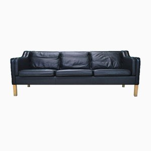 Mid-Century Mod Danish Black Leather 3 Seat Sofa by Mogens Hansen