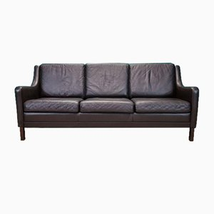 Mid-Century Danish Brown Leather Mogensen Style 3 Seat Sofa, 1970s