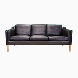 Mid-Century Danish Stouby Black Leather Mogensen Style 3 Seat Sofa