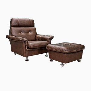Mid-Century Danish Brown Leather & Chrome Lounge Chair and Footstool, 1970s, Set of 2
