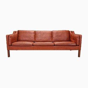 Dänisches Mid-Century Modell 2213 3-Sitzer Sofa aus Hellbraunem Leder von Borge Mogensen, 1960er