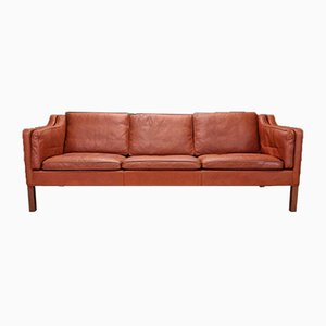 Mid-Century Danish Model 2213 3 Seat Sofa in Tan Leather by Borge Mogensen, 1960s