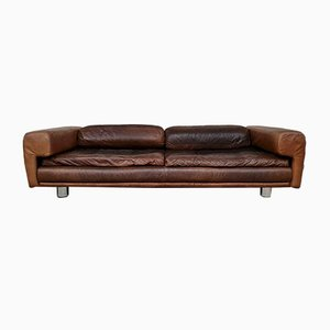 Mid-Century Leather Grand Diplomat Sofa by Howard Keith