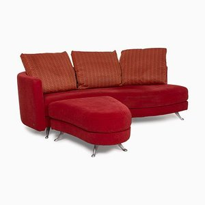 2500 Red Three-Seater Fabric Sofa and Ottoman by Rolf Benz, Set of 2