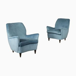 Armchairs in Spring Foam Velvet and Wood Italy, 1950s, Set of 2