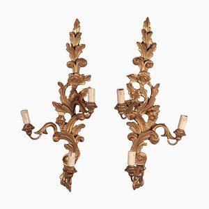 Gilded Wood Wall Lights, Set of 2