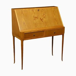 Writing Desk with Sessile Oak Veneer, Italy, 1950s