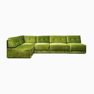 Mid-Century Modular Green Velvet Spirit Sofa, Set of 5