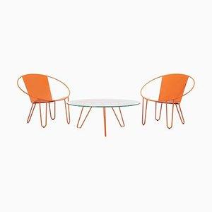 Fauteuils et Table Basse en Orange par Gary Snyder, 2020, Set de 3